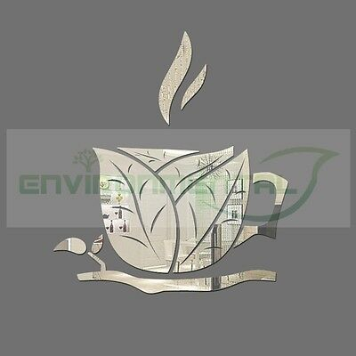 Leaf Coffee Branch Cup Acrylic Plastic Mirror Wall ROOM Decor Vinyl Art Stickers
