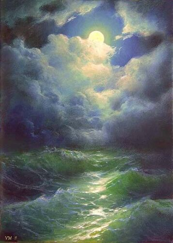 "67-5/""x7/"" CANVAS GICLEE FINE ART PRINT SEASCAPE MOON Seaview Night Storm Waves"