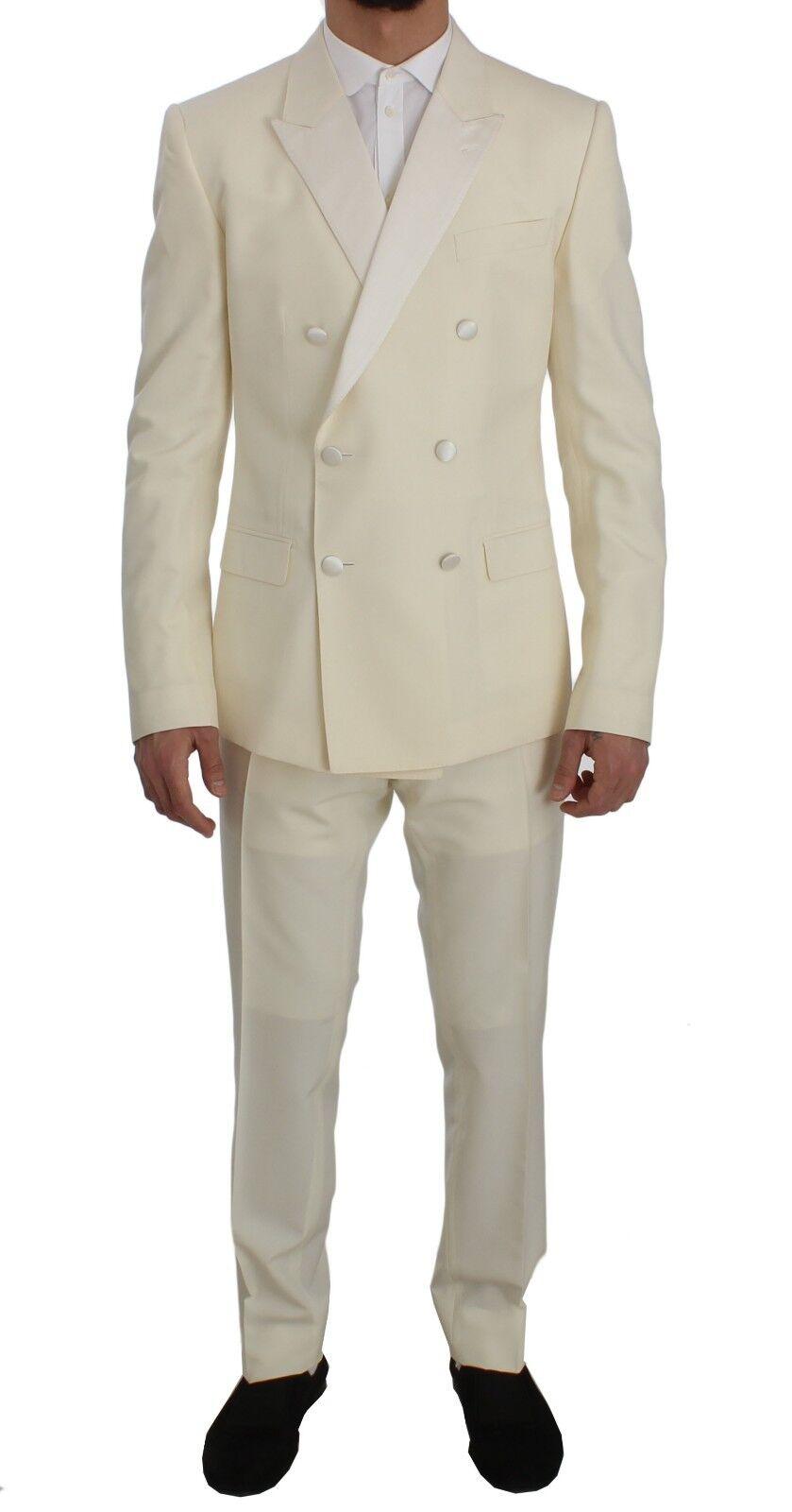 NEW 2800 DOLCE & GABBANA Suit 3 Piece Cream Weiß Wool Silk Slim Fit EU50 /US40