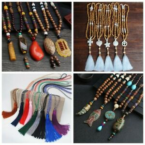 Handmade-Retro-Nepal-Buddhist-Mala-Bead-Pendant-Necklace-Horn-Fish-Long-Jewelry