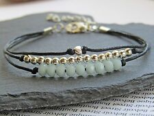 aqua blue crystal silver bead heart charm multi strand black cord bracelet gift