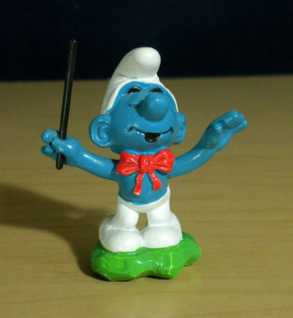 Smurfs 20092 Conductor Papa Smurf Band Leader Vintage PVC Toy Figure Peyo Bully
