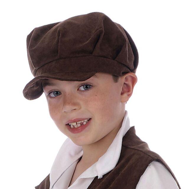 dc0b240e332 Childs Oliver Pauper Hat Urchin Boy Girl Brown Victorian Flat Cap Chimney  Sweep