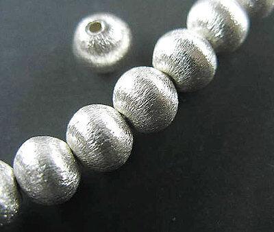 Karen Silver 4 Brushed Round Beads 8.5x8 mm.