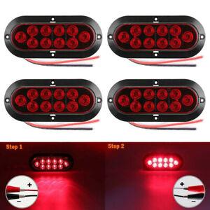 4pcs-LED-Oval-Turn-Brake-Truck-Trailer-Tail-Lights-Side-Marker-Lamp-Red-Lens-12V