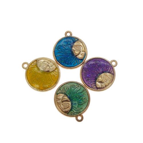 8pcs couleurs mélangées émail alliage or Sun Goddess Pendentifs Charms Crafts 53389