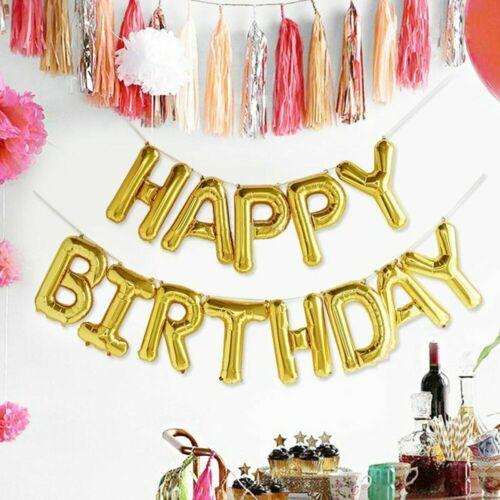 Gold Foil Happy Birthday Balloon Banner Golden Sign Garland Party Decoration