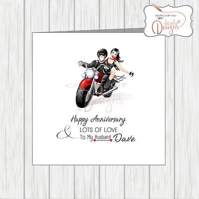 Personalised Wedding Anniversary Love Card Motorbike Bikers Couple Husband  Wife   eBay