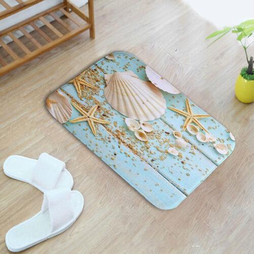 EE/_ Sea Shell Door Floor Rug Mat Doormat Bedroom Toilet Soft Carpet 60*40cm Heal