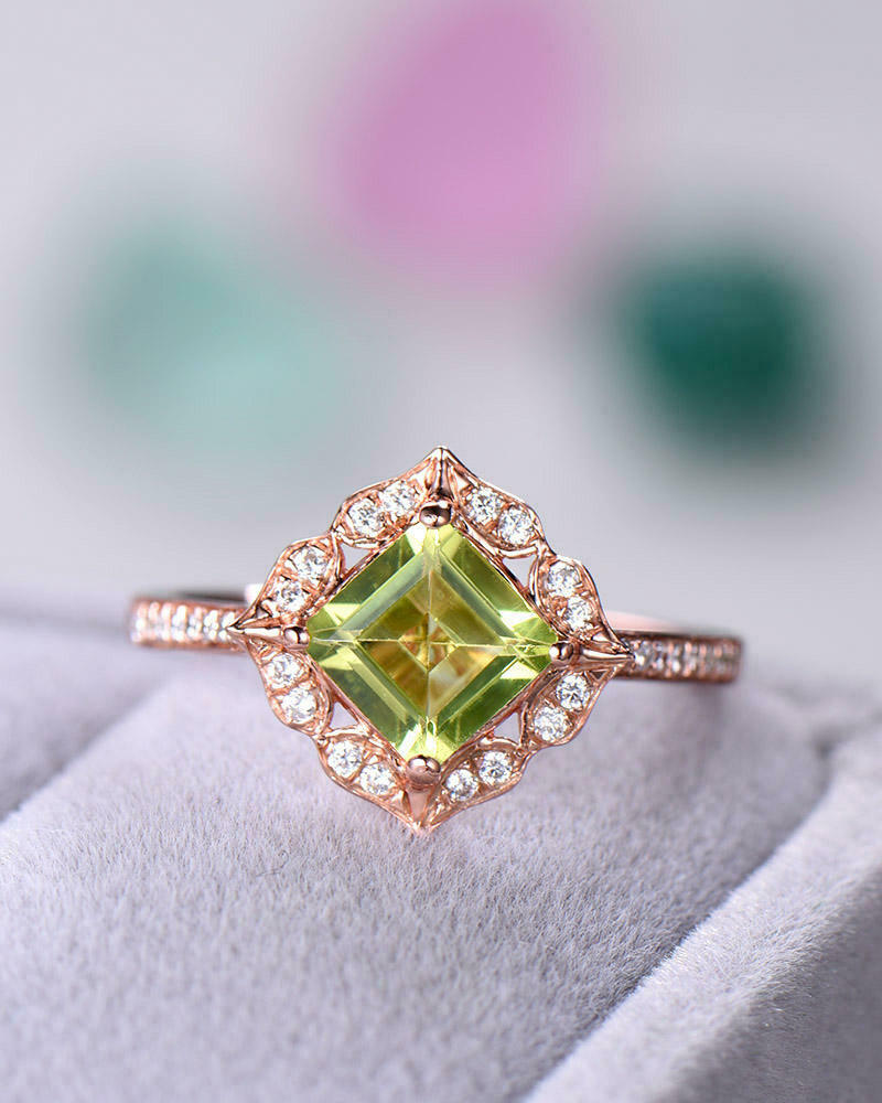 995e2f945 3Ct Asscher Cut Peridot Diamond Halo Vintage Ring 14K pink gold Finish  Accents nonzux4598-Gemstone