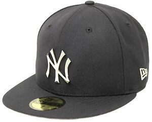 5118cd3833d8e New Era 59Fifty New York Yankees Silver Metal Badge Navy Fitted Cap ...