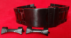 New Timex T2M947 IP Analog 22mm Trifold Security Clasp Bracelet Black Watch Band