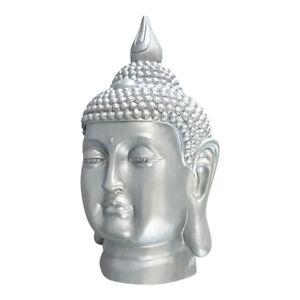Grosse-Deko-Figur-Buddha-Kopf-Skulptur-Polyresin-Garten-Bad-S082-Silber-Hell