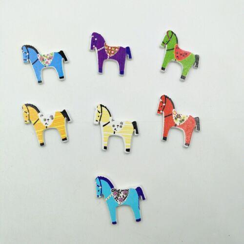 50pcs 2 trous cheval en forme en Bois Couture Boutons pour À faire soi-même Couture Scrapbooking