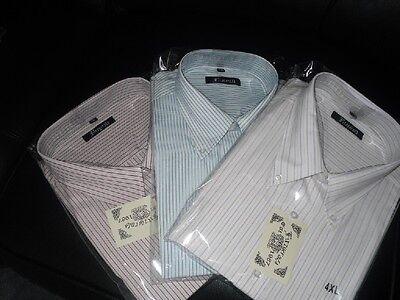 Kingsize New Mens Fitzgerald S/s Stripe Shirts 5xl,6xl,7xl BerüHmt FüR AusgewäHlte Materialien, Neuartige Designs, Herrliche Farben Und Exquisite Verarbeitung