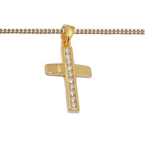 Kinder Kommunion Premium Zirkonia Kreuz Anhänger mit Kette Silber 925 vergoldet