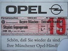 TICKET 1992/93 FC Bayern München - Eintracht Frankfurt