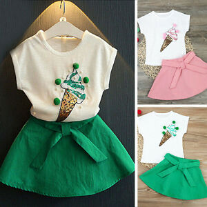 Cute-Toddler-Kids-Baby-Girls-Ice-Cream-Top-Shirt-Bow-Skirt-Outfits-Set-Clothes