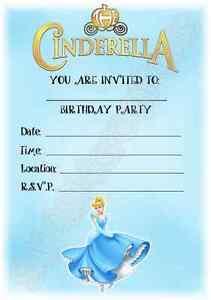 a5 childrens kids disney princess party invitations x 12