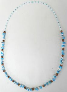 Navajo-Ghost-Cedar-Beads-Juniper-Berry-White-amp-Blue-Turquoise-30-inch-Necklace