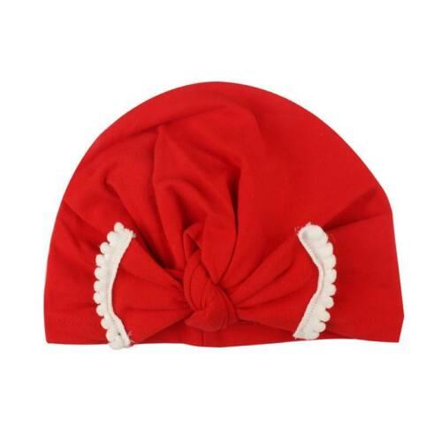 Cute Toddler Kids Baby Cotton Bowknot Hat Beanies Soft  Head Wrap Turban Cap New