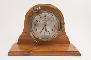 Bell-Clock-Co-Porthole-Ship-039-s-Clock-USA-Quartz-Heavy-Beaveled-Glass-Brass-HSE
