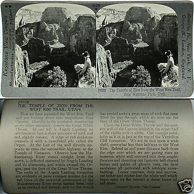 Zion Nat Keystone Stereoview TEMPLE of ZION UTAH 600//1200 Card Set #1124 Park
