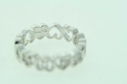 Sterling Silver Cubic Zirconia Eternity Heart 5.5mm Band Ring