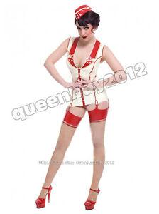 Mixed Intimate Items 100% True 100% Latex Rubber Gummi 0.45mm Nurse Dress Uniform Catsuit Skirt Suit Costume