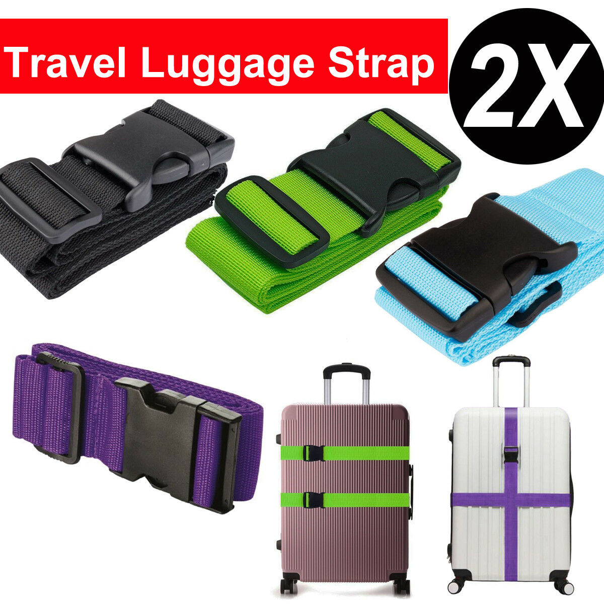 2PCS Travel Luggage Packing Belt Suitcase Strap Baggage Backpack Bag S... - s l1600