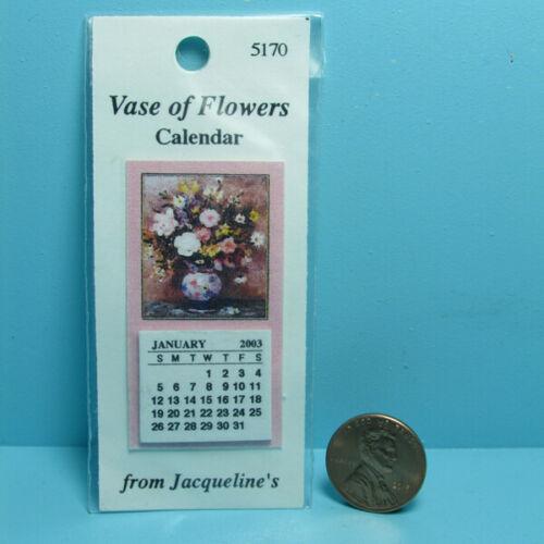Dollhouse Miniature Wall Calendar Vase of Flowers 5170