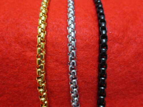 """16/""""-60/""""  STAINLESS STEEL GOLD,SILVER,BLACK 5MM SMOOTH BOX ROPE CHAIN NECKLACE"""