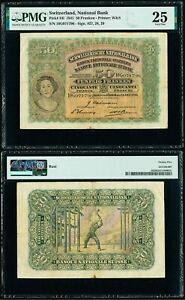 Large 1941 Switzerland Banknote Fifty Francs Currency Pick Number 34l PMG 25VF