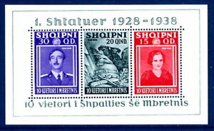 ALBANIA-1938-Accession-of-King-Zog-Anniversary-block-LHM