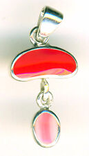 """925 Sterling Silver Red Coral & Pink Lace Agate Pendant  Length 30mm 1.1/5"""""""