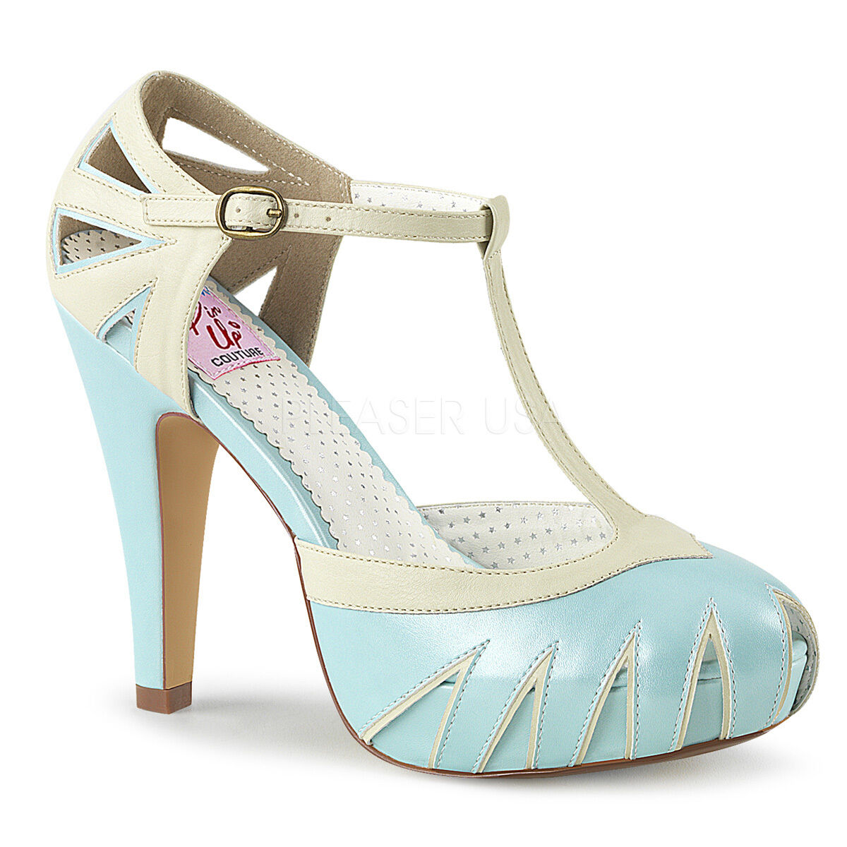 Pin Up Couture Couture Couture BETTIE-25 Hidden Platform Two Tone Cut Out T-Strap Pump 999baa