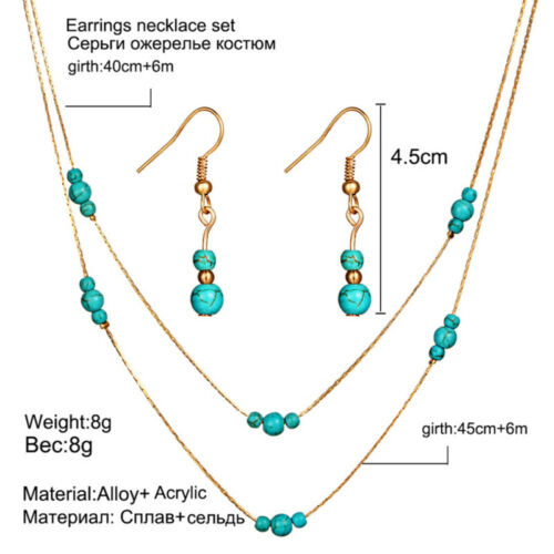 Multi Layered Turquoise Stone Beaded Necklace Earrings Jewelry Set Gold//Silver Z