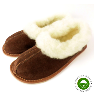 Women-039-s-Shoes-REAL-LEATHER-SHEEP-WOOL-Slippers-Handmade-Hard-Sole-Brown