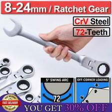 1 16x Ratchet Gear Spanner Combination Flexible Head Wrench Tool Metric 8mm 24mm