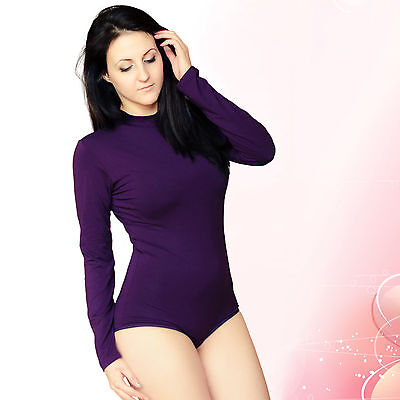 New Womens Bodysuit Turtle Neck Long Sleeve Stretch Leotard Ladies Sexy Top