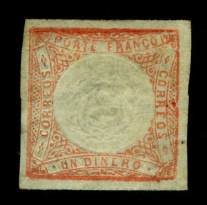 PERU 1862 Coat of Arms 1dinero red Sc# 12 mint MH VF