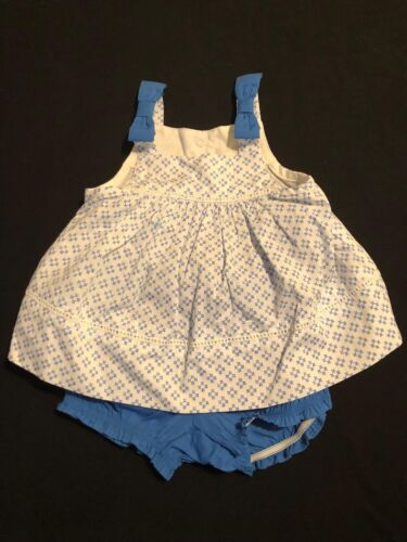 NWT Gymboree Girls Layette Blue White Checks Dress and Bloomers Size 0-3 /& 3-6 M