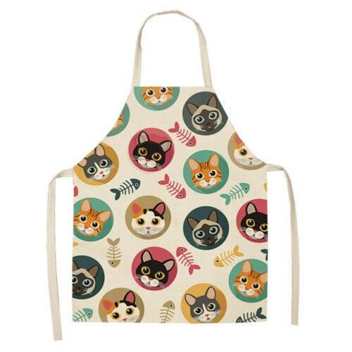 US Cotton Linen Kitchen Apron Cute Cat Animal Printed Washable Sleeveless Aprons