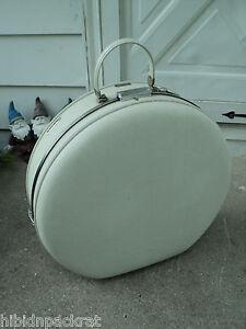 Vintage White American Tourister Round Tri Taper Suitcase
