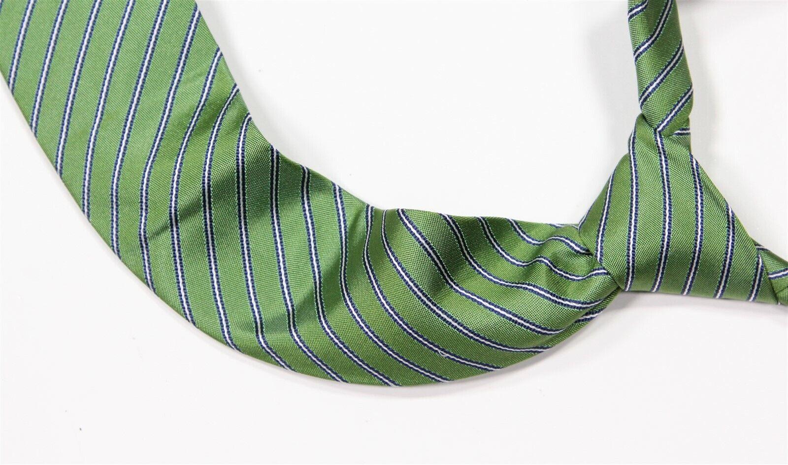 ! novedad! McNeal de Roda verde w/azul rayas seda ajustada Handmade corbata