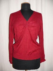 ESPRIT-Feinstrickpullover-V-Ausschnitt-Pullover-gerafft-rot-XL