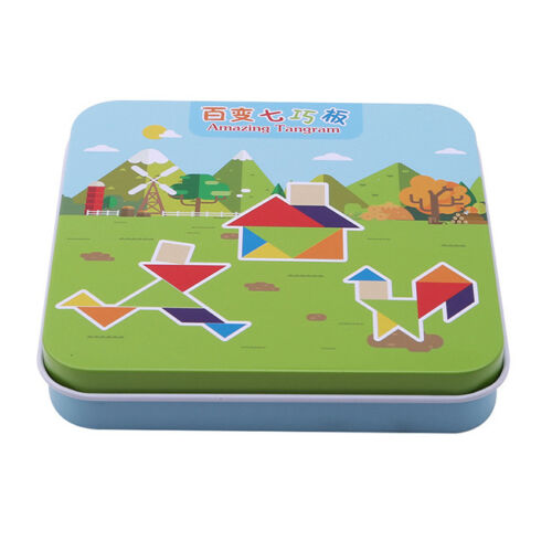 Baby Kids Wooden Tangram Brain-Teaser Puzzle Preschool Intellectual Toy TO