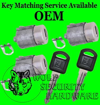 Suburban Tahoe Yukon 95-99 OEM Front /& Rear Door Key Lock Cylinder Set 2 Keys