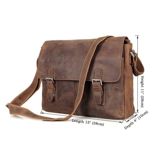New Men/'s Genuine Leather Shoulder Bag messenger Briefcase CROSS Body Brown AJ02