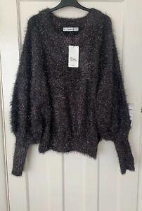 Zara-Gris-Surdimensionne-Metallic-Thread-Texture-Puff-Sleeve-Sweater-Taille-M-Bnwt